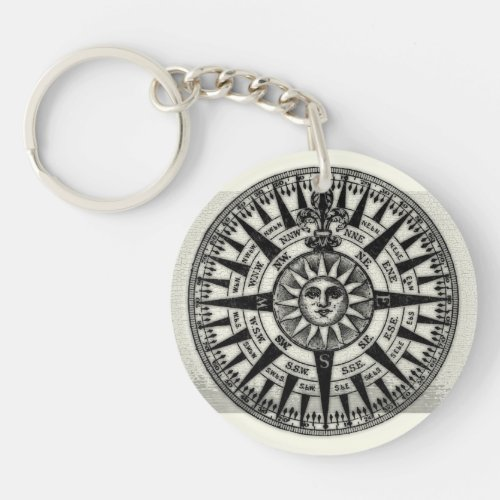 Vintage Compass Rose Sun Keychain