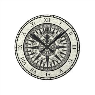 Vintage Compass Rose Sun Round Clock