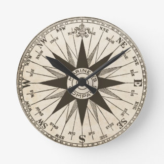 Vintage Compass Rose Wall Clock
