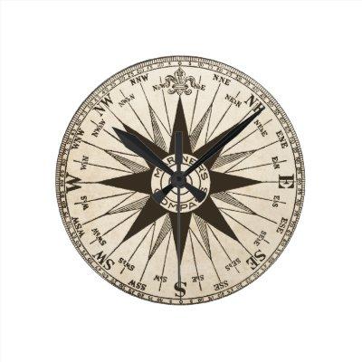 Vintage Compass Rose Sun Round Clock | Zazzle