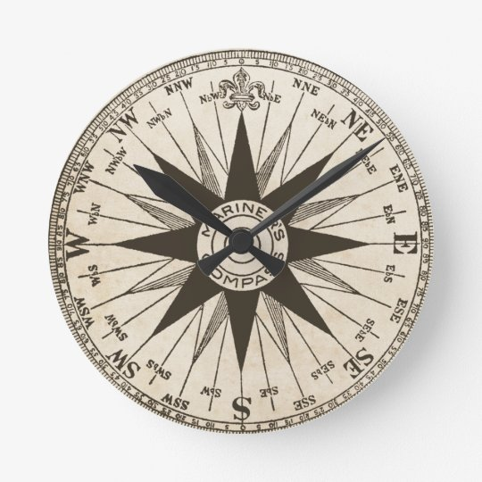 Vintage Compass Rose Wall Clock Zazzle Com
