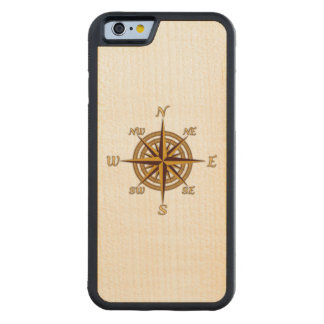 Vintage Compass Rose Carved® Maple iPhone 6 Bumper