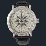 "Vintage Compass Rose Wrist Watch<br><div class=""desc"">A vintage compass rose in sepia on a parchment toned antiqued background. Center reads &quot;mariner&#39;s compass.&quot; Count time as the hands move across the compass directions. North is at 12:00. Fantastic gift for a travel agent,  ship captain or world traveler.</div>"