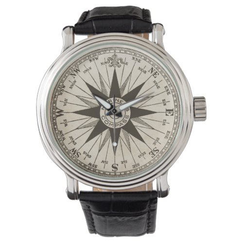 Vintage Compass Rose Wrist Watch