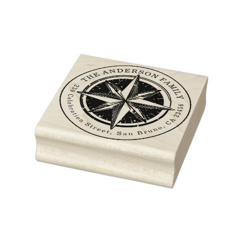 Vintage Compass Round Family Name  Return Address Rubber Stamp