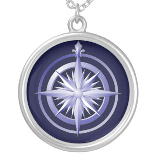 Vintage Compass Silver-Plated Necklace Blue