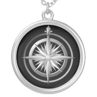 Vintage Compass Sterling Silver Necklace Black