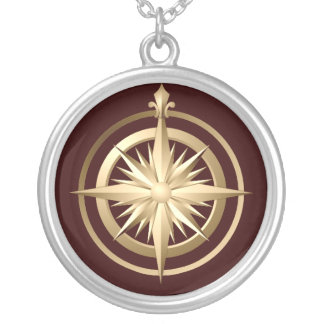 Vintage Compass Sterling Silver Necklace Brown
