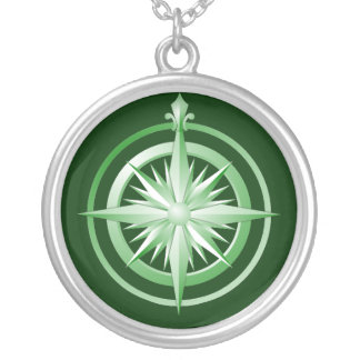 Vintage Compass Sterling Silver Necklace Green