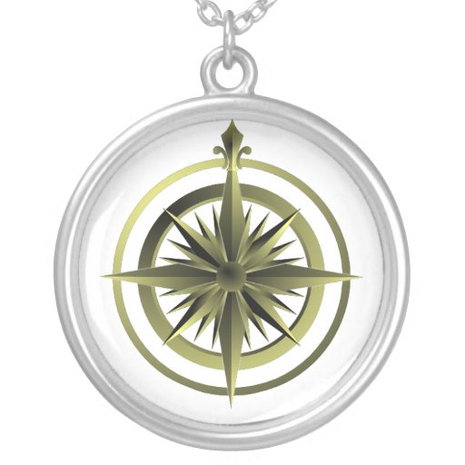 Vintage Compass Sterling Silver Necklace White