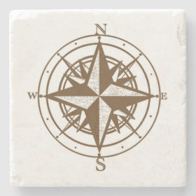 Vintage Compass Stone Beverage Coaster