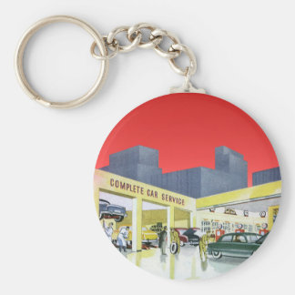 Vintage Complete Car Service Garage Auto Mechanics Basic Round Button Keychain