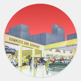 Vintage Complete Car Service Garage Auto Mechanics Classic Round Sticker