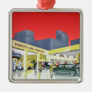 Vintage Complete Car Service Garage Auto Mechanics Square Metal Christmas Ornament