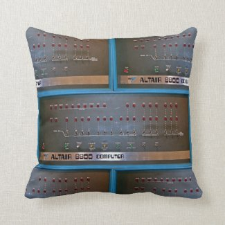Vintage Computer with Analog Switches Throw Pillow