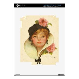 Vintage con clase de la flor de la mujer iPad 3 skin
