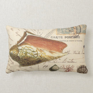 Vintage conch shell postcard pillow