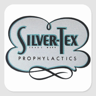 Vintage Condom Prophylactic Silver-Tex Brand Square Sticker