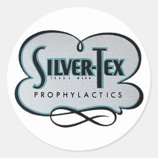 Vintage Condom Prophylactic Silver-Tex Brand Classic Round Sticker