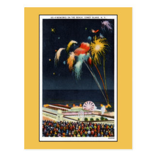 Vintage Coney Island fireworks on beach Postcard