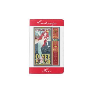 vintage coney island mermaid pocket moleskine notebook
