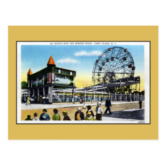 Vintage Coney Island scoota boat wonder wheel Postcard