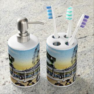 Vintage Coney Island scoota boat wonder wheel Soap Dispenser And Toothbrush Holder