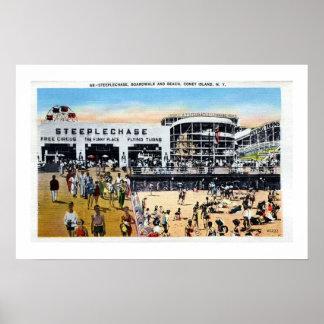 Vintage Coney Island  steeplechase boardwalk beach Poster