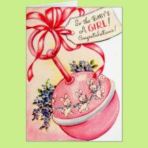 Vintage Congratulations New Baby Girl card