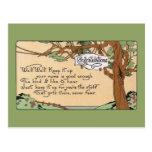 Vintage Congratulatory Verse and Tree Postcard