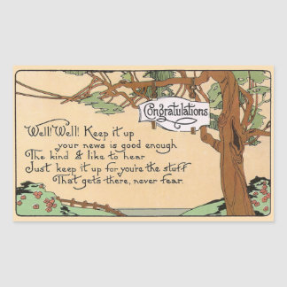 Vintage Congratulatory Verse and Tree Rectangular Sticker