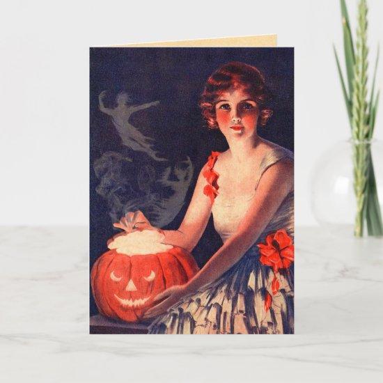 Vintage Conjuring Spirits Halloween Card