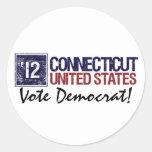 Vintage Connecticut de Demócrata del voto en 2012  Pegatina