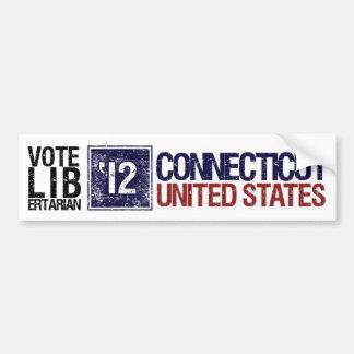 Vintage Connecticut del libertario del voto en 201 Etiqueta De Parachoque