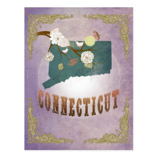 Vintage Connecticut State Map- Sweet Lavender Postcard