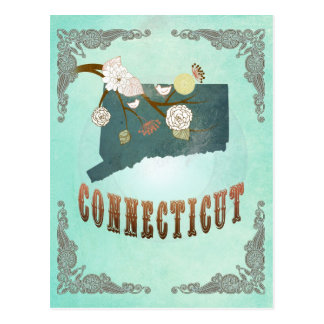 Vintage Connecticut State Map – Turquoise Blue Postcard