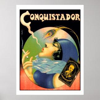Vintage Conquistador Cigarettes Tobacco 1930s Poster
