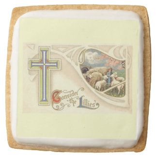 Vintage Consider The lillies Easter Greeting Square Shortbread Cookie