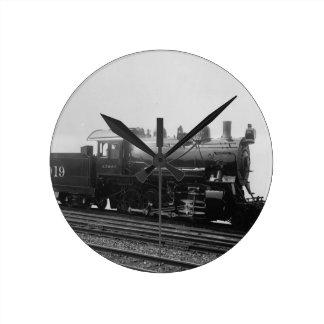 Vintage Consolidation 2-8-0 Steam Engine Train Round Clock