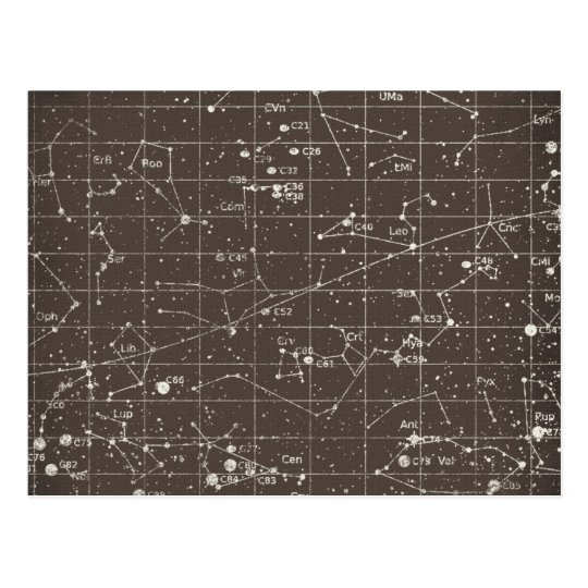 Vintage Constellation Chart Postcard