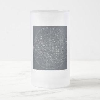 Vintage Constellation Map Frosted Glass Beer Mug