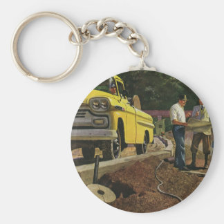 Vintage Construction Business Architect Contractor Keychain