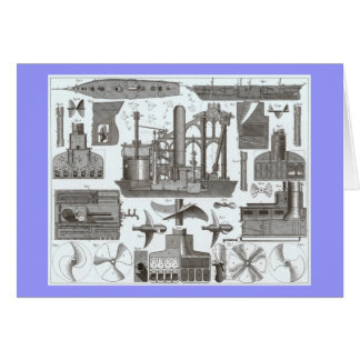 Vintage Construction of Steamships 1850 Greeting Card
