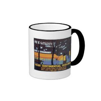Vintage Continental Holiday Railways Ringer Coffee Mug