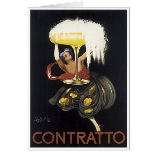 Vintage Contratto Champagne Poster Art print Card