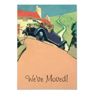 "Vintage Convertible Car Change of Address 3.5"" X 5"" Invitation Card"