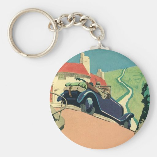 Vintage Convertible Car on a Country Road Basic Round Button Keychain