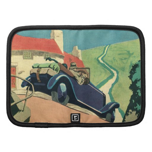Vintage Convertible Car on a Country Road Folio Planner