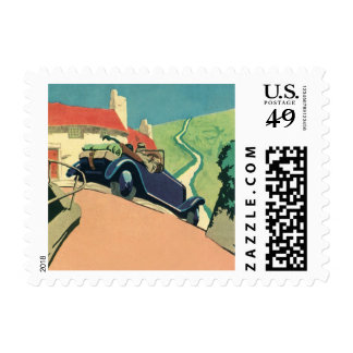Vintage Convertible Car on a Country Road Postage