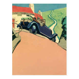 Vintage Convertible Car on a Country Road Postcard